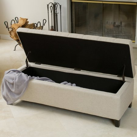 Noble House Meadow Beige Tufted Fabric Storage Ottoman Bench ()
