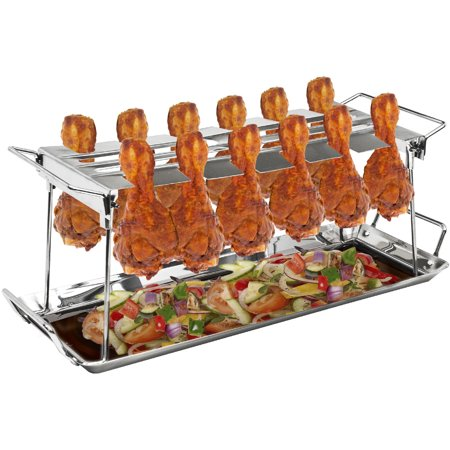 Sorbus Chicken Leg Grill Stand, 12 Slots with Tray ()