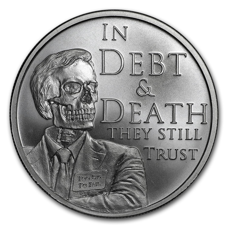 2017 Silver Shield MiniMintage Series Debt /& Death Silver BU US Round