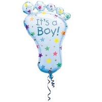 31 Inch Blue Footprint It's A Boy Super Shape Mylar Foil Baby Shower Balloon
