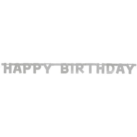 Happy Birthday Banner, 4 ft, Silver, 1ct (Silver Wedding Anniversary Banners)
