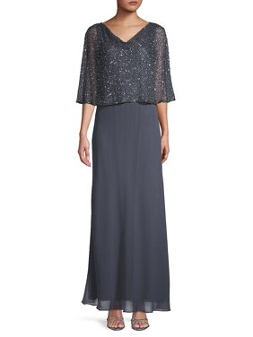 Embellished Capelet Gown