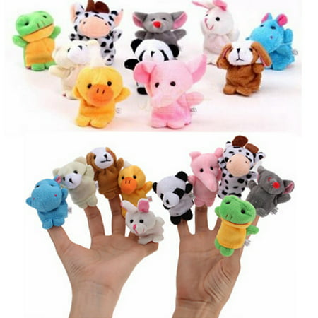 Set of 10 Educational Toys Animal Finger Puppets Plush Set Zoo Farm Cute Furry Cloth Toys For Kids Baby Bed Story Telling Toy - Baby Toy Story