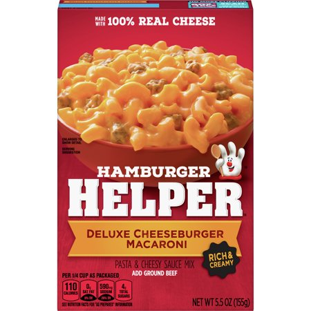 Hamburger Helper Deluxe Cheeseburger Macaroni Hamburger Helper 5.5 Oz America's favorite Hamburger Helper is made with 100% REAL cheese for the real taste you love most. Our products are made with NO artificial flavors or colors from artificial sources.