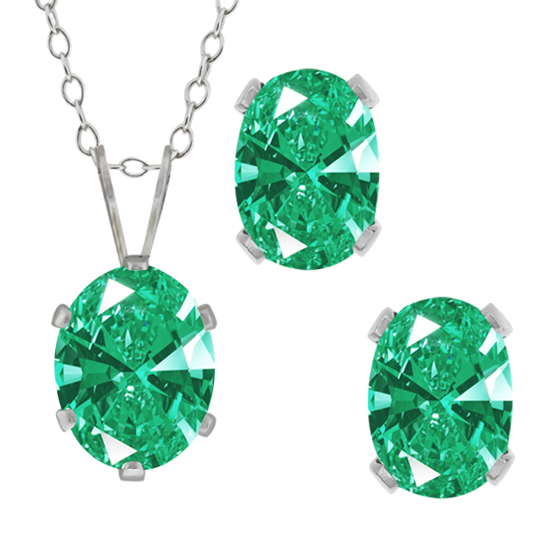 2.73 Ct Green 925 Sterling Silver Pendant Earrings Set Made With Swarovski Zirconia