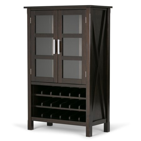 Brooklyn + Max Providence 18-Bottle Solid Wood 32 inch Wide Contemporary High Storage Wine Rack Cabinet in Dark Walnut (Providence Mall Stores)