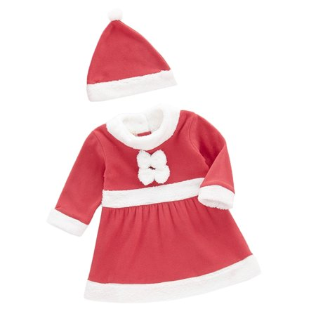 Age 1-3 Baby Girl Holiday Santa Costume Red and White Dress + Hat, 2-pc Set (95/24-36 Months) - Baby Girl Santa Suit