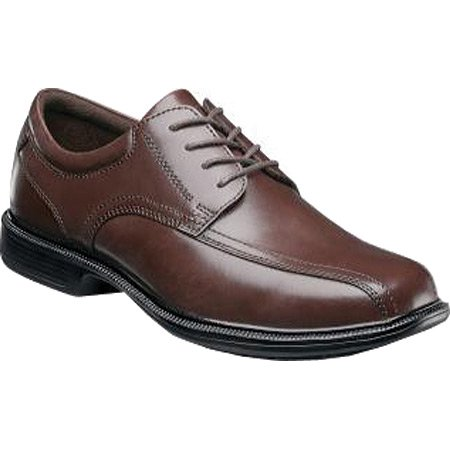 Nunn Bush BARTOLE ST BICYCLE TOE Mens Brown Leather Slip Resistant Oxford Dress -