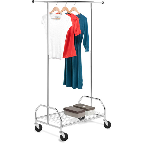 Honey Can Do Rolling Garment Rack with Shelf, Chrome