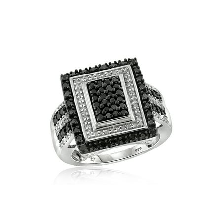 - 1.00 CTW Round cut Black & White Diamond Rectangle Shape Sterling Silver Ring