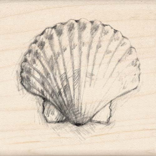 Inkadinkado Rubber Stamp With Wood Handle - Scallop Shell