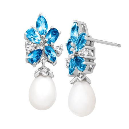 2 1/4 ct Natural Swiss, White, Sky Blue Topaz and 10X8 mm Freshwater Pearl Drop Earrings in Sterling (Soy Pearl)