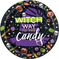 Skeleton Trick or Treat Halloween Paper Dessert Plates, 7in, 8ct