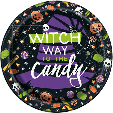 Skeleton Trick or Treat Halloween Paper Plates, 7 in, - Halloween Plates On Sale