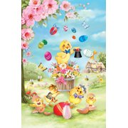 """Chick Magic Easter Garden Flag Eggs Butterfly Spring Floral Decorative 12"""" x 18"""""""
