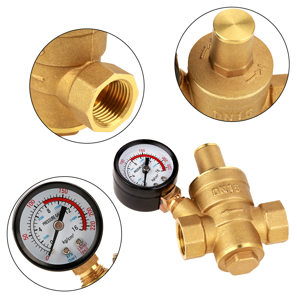 Brass Pressure Regulator,DN15 Brass Adjustable Water Pressure Regulator Reducer with Gauge Meter
