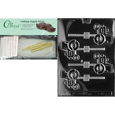 45Stk25g J035 Tractor Lolly Chocolate Candy Mold With Lollipop Supply Kit  25 Lollipop Sticks  25 Cello Bags And 25 Gold Metallic Twist Ties  25 Paper    By Cybrtrayd