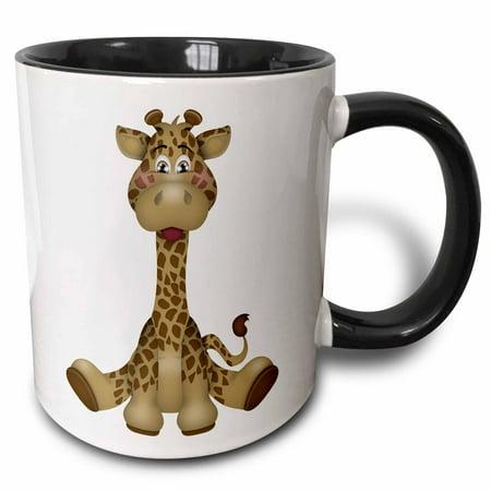 3dRose Cute Brown Baby Sitting Giraffe - Two Tone Black Mug, 11-ounce ()