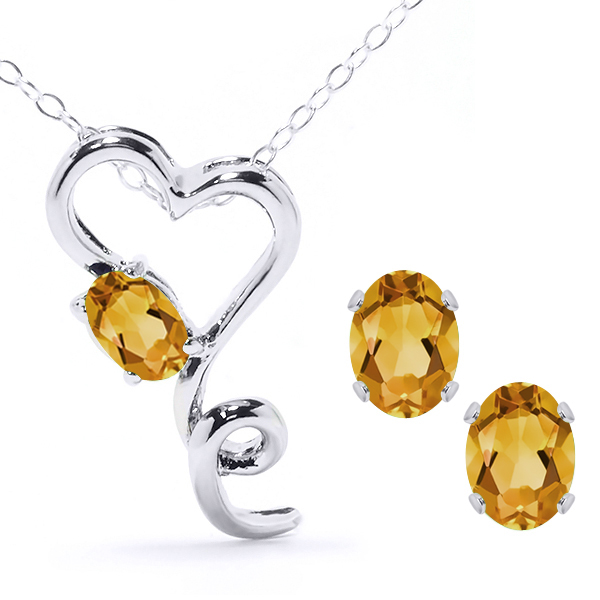 1.80 Ct Oval Yellow Citrine 925 Sterling Silver Pendant Earrings Set