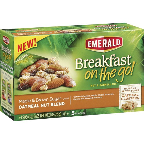 Emerald Breakfast On The Go Nut & Oatmeal Mix, Maple & Brown Sugar, 1.5 Oz, 5 Ct