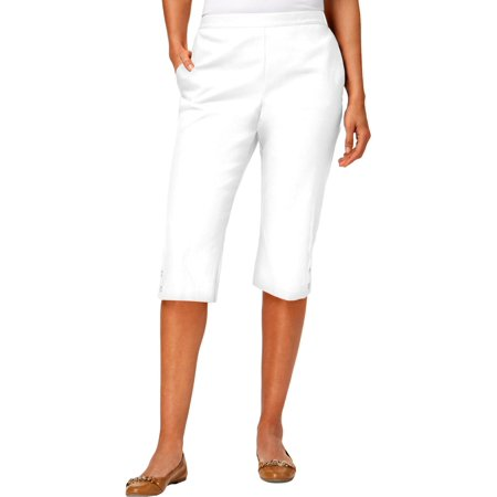 Alfred Dunner Capris - Alfred Dunner Womens Petites Sun City Classic Fit High Rise Capri Pants White 6P