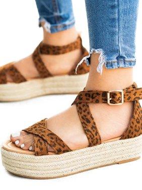 Womem Espadrilles Flatform Sandals Summer Ankle Buckle Platform Shoes