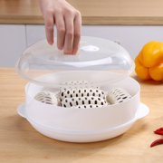 Cheers Round Single/Double Tier Microwave Food Steamer Kitchen Veggies Fish Cookware