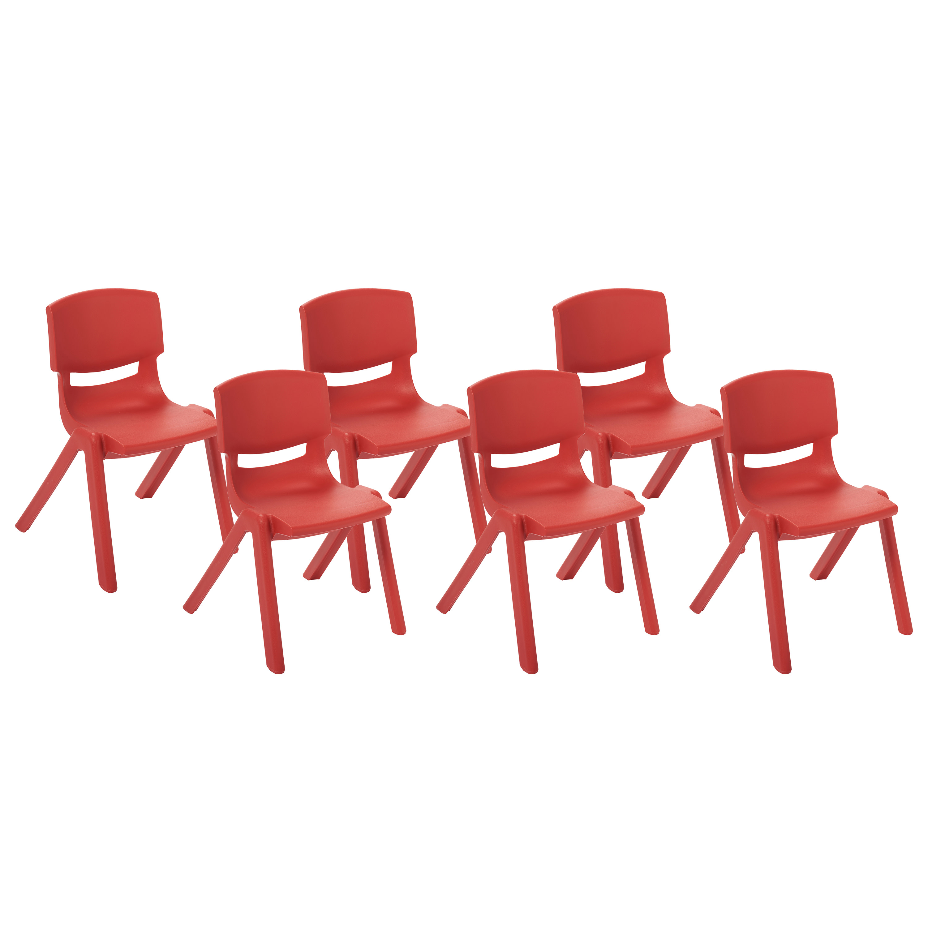 ECR4Kids Resin School Stack Chair 10' 6/CT Red 15410RD