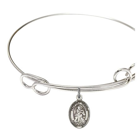 1/2 Inch Sterling Bracelet - 7 1/2 inch Round Double Loop Bangle Bracelet w/ St. Isaiah in Sterling Silver