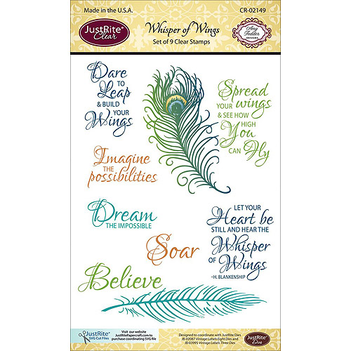 """JustRite Papercraft Clear Stamp Set, 4"""" x 6"""", Whisper Of Wings"""