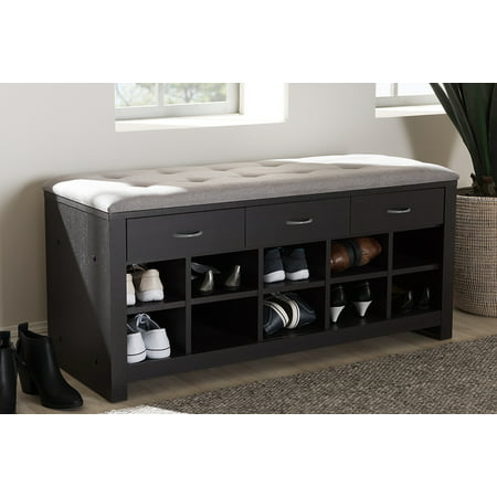 Baxton Studio Espresso Finished Grey Fabric Upholstered Entryway (Arms Not Upholstered Benches)