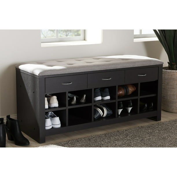 Baxton Studio Espresso Finished Grey Fabric Upholstered Entryway Bench