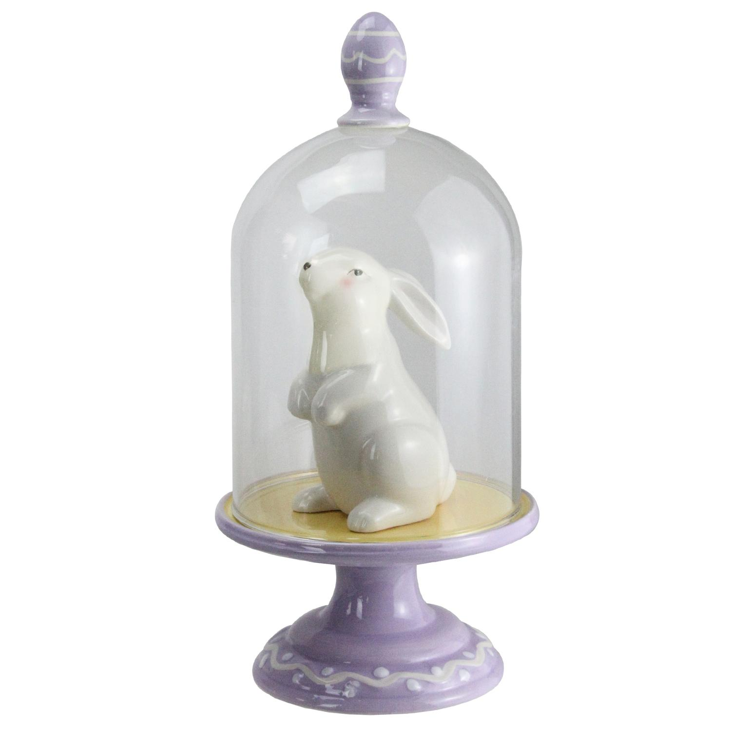 "11.5"" Easter Bunny Rabbit on Purple Pedestal Base with Clear Glass Cloche Dome by Melrose"