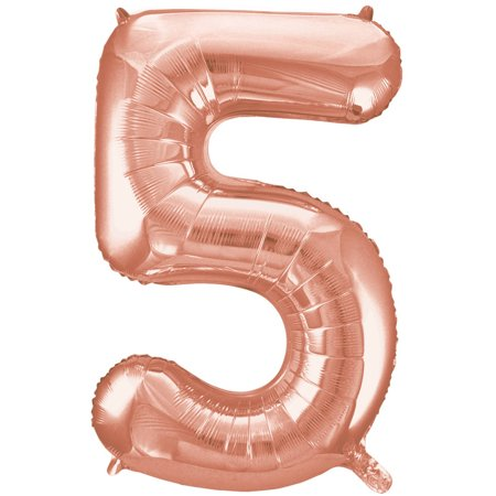 Foil Big Number Balloon 5 34 In Rose Gold 1ct Walmartcom