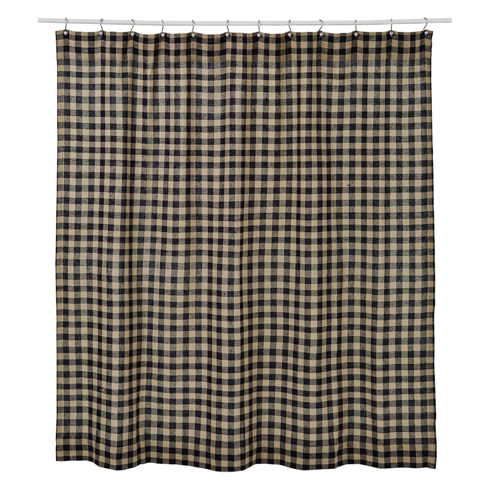 VHC Burlap Black Check Shower Curtain
