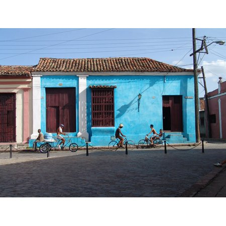 Laminated Poster Cycle Old House Cuba Blue House Poster Print 11 x 17