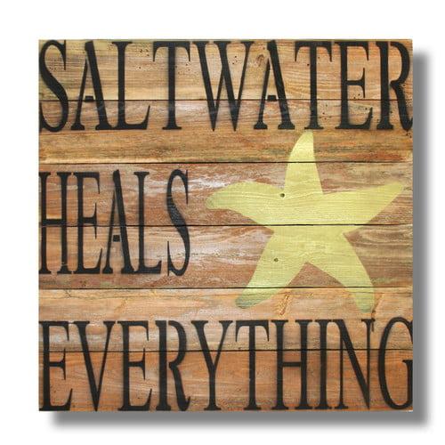 Beach Frames 'Saltwater Heals Everything' Textual Art Plaque by Beach Frames