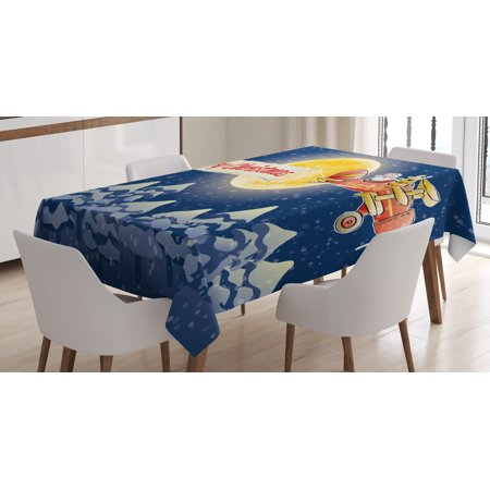 Christmas Tablecloth  Santa Claus Airline Theme Vintage Plane Full Moon Snow Covered Trees  Rectangular Table Cover For Dining Room Kitchen  60 X 84 Inches  Dark Blue Marigold Red  By Ambesonne