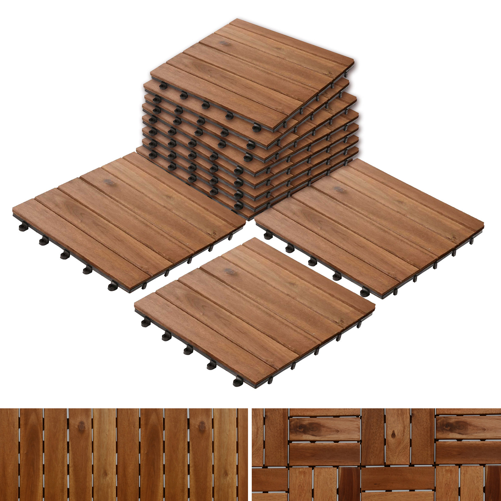 Patio Pavers | Composite Decking Flooring and Deck Tiles | Acacia Wood | Suitable for Indoor and Outdoor Applications | Stripe Pattern | 12x12 inches - Pack of 11 Tiles