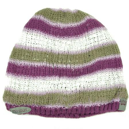 Missouri State Mizzou Purple White Striped Cuffless Knit Beanie Womens Hat Ladies