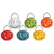 6-Pc Ceramic Round Tea Light Lantern Set