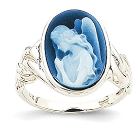 Icecarats 14K White Gold 10X14mm Guardian Angel Agate Cameo Band Ring Size 7 00  Stone  Fine Jewelry Gift Valentine Day Set For Women Heart