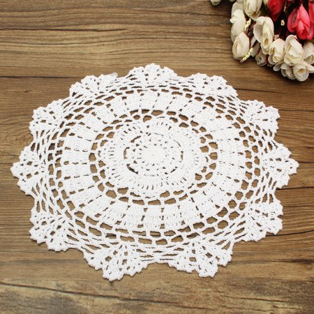Crochet Ivory Doilies (Meigar 12 inch Round Handmade Cotton Crochet Doilies,Ecru Round Crocheted Lace Cloth Fabric Doilies Placemats Table Mat Doily)