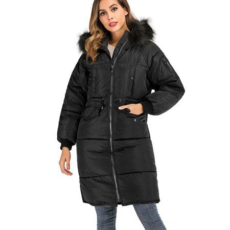 SAYFUT Plus Size Womens  Long Puffer with Faux-Fur Hooded Winter Coats Zipper Hoodie Jacket Thicken Warm Winter Parka Puffer Jackets Coat Black Polyester Parka
