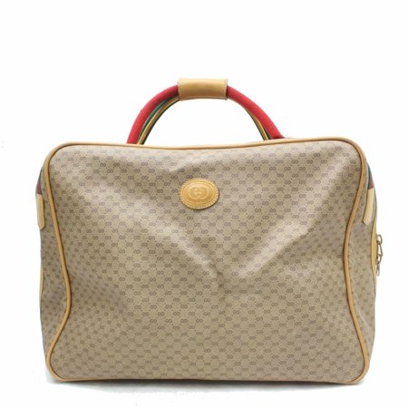 Micro Gg Monogram Web Luggage Suticase 870035 Light Brown Pvc Weekend/Travel