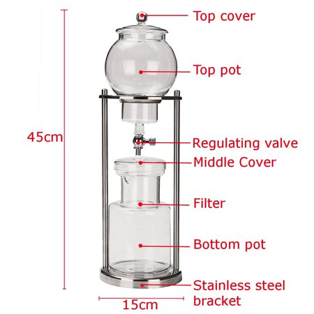 1000ml New Dutch Coffee Cold Drip stainless steel tea maker Water Drip Coffee Maker Serve For 10 Cups 18x6