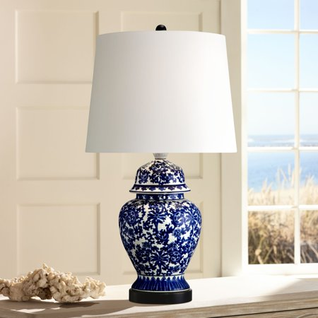 Regency Hill Asian Table Lamp Temple Porcelain Jar Blue Floral White Drum Shade for Living Room Family Bedroom Bedside Nightstand