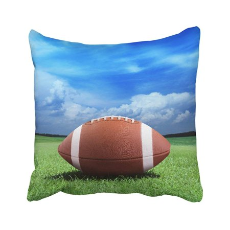 BPBOP Green Field Football On Arena Near The 50 Yard Line Grass Ball Sport Turf Game Sideline Pillowcase Cover 18x18 inch Baltimore Ravens Field Football