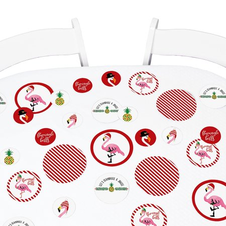 Flamingle Bells - Tropical Christmas Party Giant Circle Confetti - Flamingo Christmas Party Decorations - Confetti 27 Ct (Flamingo Decorations)