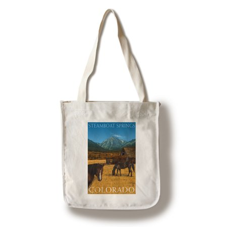 Steamboat Springs, Colorado - Horses and Barn - Lantern Press Poster (100% Cotton Tote Bag - Reusable)